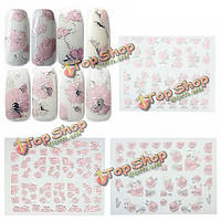 Розовый клей предназначен цветок ногтей стикер переводная картинка