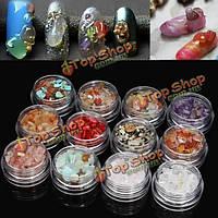 12 цветов 3D ногтей натуральный кристалл камни драгоценный камень нефрит гравий украшения набор