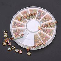 Красочные жемчужные украшения искусства ногтя колеса круглые