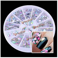 Блестящие овальные стразы акриловые украшения искусства ногтя колеса