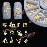 Рождество золотой ногтей наклейки советы маникюр DIY украшения круглый колесные