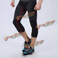 Мужчины сжатия полиэстер спортивные брюки узкие брюки капри дышащие быстро сухой Shapewear