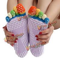 Красочные пять йоги пальца ноги пальца не анти-фитнес осуществления спортзала пилатеса носков промаха блока