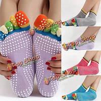 4 цвета 5 пальцев пальца противоскользящие йога носки хлопка пилатеса работает спорт