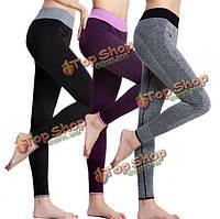 Athleisure высокая талия йога тренажерный зал спорта растянуты спандекс фитнес леггинсы тяжелое дыхание упражнения для похудения