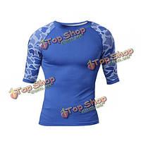 Мужчины сжатия печати леопарда спортивный плотно рубашку половину рукав быстрый сухой профилировщика тела