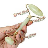 Зеленый нефрит роликовый массажер для глаз лицо шея голова расслабиться массаж