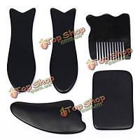 5шт натуральный черный рог здоровья слом пластины набор ног похудение гребень иглоукалывание массаж расслабиться