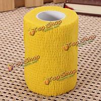 4шт желтый Ourdoor спорта самоклеющаяся эластичная марлевую повязку уход лента