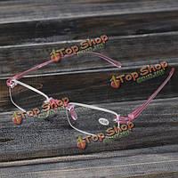 Розовый Rimless свет дальнозоркостью очки для чтения усталость снимают прочности 1.0 1.5 2.0 2.5 3.0
