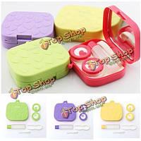 4 цвета контактные линзы уход держатель чехол пинцет зеркало линзы ящик для хранения