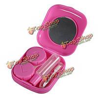 Квадратное розовое мини-зеркальная контактная линза футляр для хранения бокс-сет