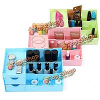 3-х цветов пластиковые косметические организатор выдвижной отсек для хранения макияж инструмент лак для ногтей кейс