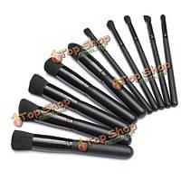 10шт профессиональный макияж кисти косметический набор бровям румяна пудра салон набор инструментов черный