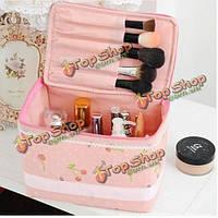 Портативный розовый нетканый материал косметический мешок кружева макияж случай