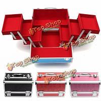Алюминий большой емкости косметический макияж органайзер для хранения кейс коробка контейнер