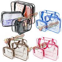 Портативный органайзер четкие ПВХ сумки макияж путешествия водонепроницаемым туалетных