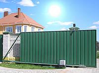 Ворота откатные из профнастила