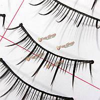 10 пар черный тонкий мягкий остроконечный handmade ложные ресницы 188