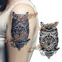 Временная картина сова тела рука переноса воды стикер татуировки
