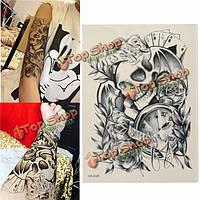 Череп часы роза ужас призрак шаблоны водонепроницаемый тело искусства руку временные татуировки наклейки