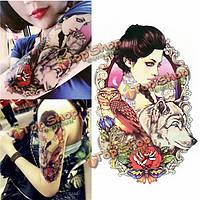 Цветочный волк совы красоты водонепроницаемый боди-арт руки временная этикетка татуировки