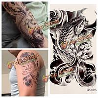 3D карп цветочный дизайн съемный водонепроницаемый временные татуировки стикер