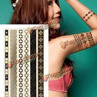 Золотая цепочка металлическая временные татуировки боди-арт наклейки