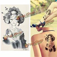 Япония гейши временную татуировку Боди-арт наклейки рука ногу съемный водонепроницаемый