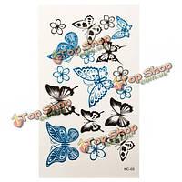 Временная бабочка этикетки татуировки сформировала водонепроницаемый бумажный боди-арт вспышки для женщин