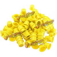 100шт татуировки пластиковых чашек машина чернил колпачки желтый 3 размеры