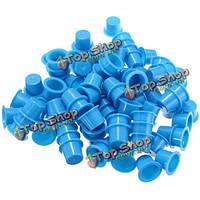 Чашечки крышки для тату чернил пластиковые синие 3 размера 100шт