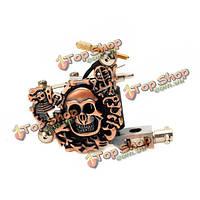 Низкий уровень шума черепа металла татуировка пулемет 10 перекосов катушками 7000-9000 г / мин фиолетовый бронзу