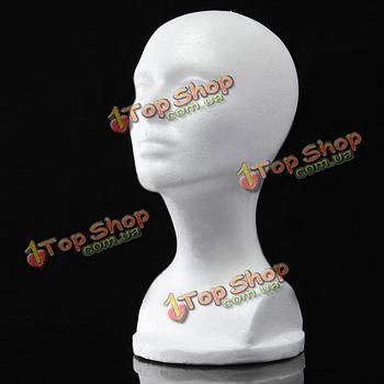 Стенд манекен голова под парик 30см белый пенопласт