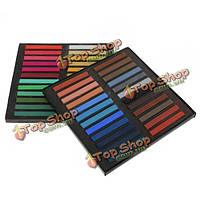 48 цветов нетоксичные временное пастельные мелки квадратных волос