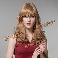 Парик волнистые волосы с челкой полунатуральный 58см