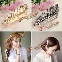 Сплав золота серебра зажим для волос лист перо Hairgrip аксессуар