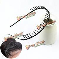 Металлический обруч волос черная спортивная лента для волос ленты волны годные для лиц обоего пола женщины - мужчины