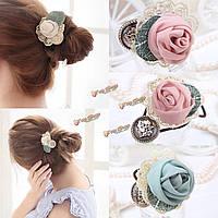Цветок ткань кружева розы Hairbands эластичные ленты для волос аксессуары для волос