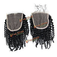 Накладка из черных кудрявых бразильских волос 6а 4x4