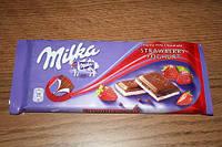 Шоколад Milka з полуничним кремом 100г