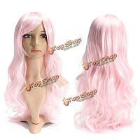 Парик розовый вьющиеся длинные волосы 70см