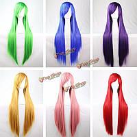 Аниме парик цветной длинные прямые волосы 100см