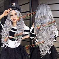 Парик на Хеллоуин из длинных серых волос 80см