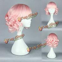 Парик розовые волнистые короткие волосы