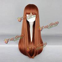 Парик с челкой яркие коричневые длинные прямые волосы