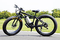 Электровелосипед LKS Fatbike Чёрно-зелёный (Фэтбайк) Electro Rear Drive