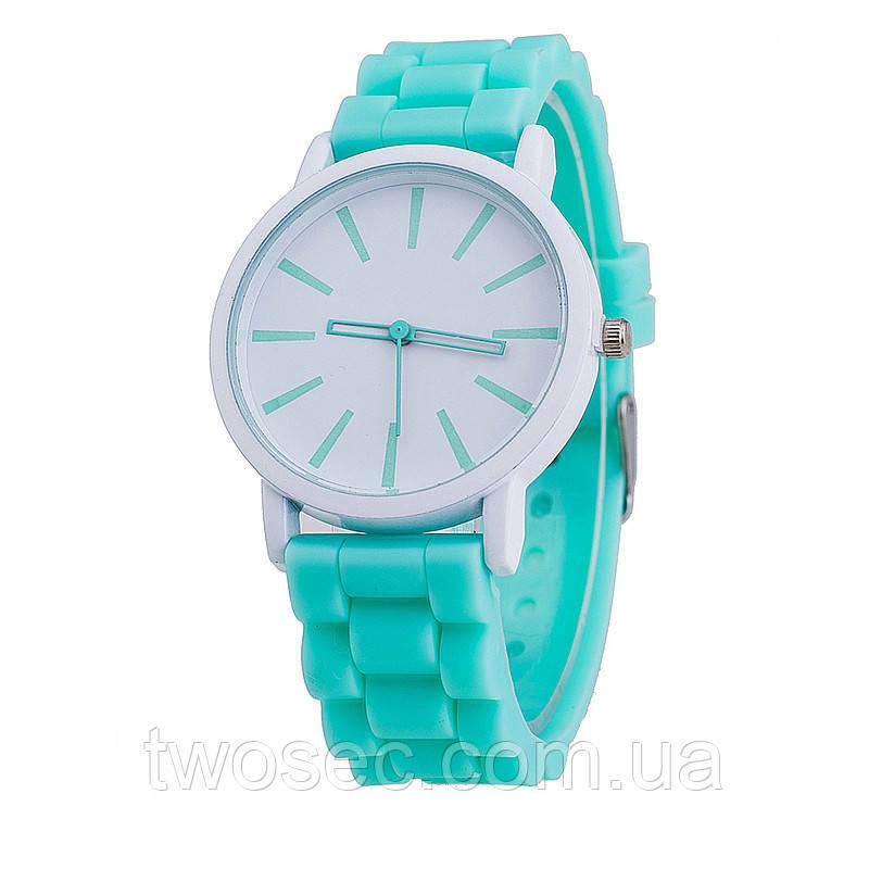 Женские силиконовые наручные часы кварцевые Feb22 на силиконовом ремешке бирюзовые, мятные, tiffany