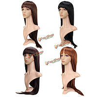 Парик искусственный длинные прямые волосы с челкой 72см