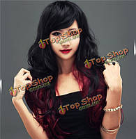Парик длинные вьющиеся волосы черно-красные